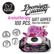 Load image into Gallery viewer, Papilion® Aromatherapy Wet Wipes 100 & 120 Sheets with Vitamin-E & Aloe, and Plant Based Fragrance with Cap Seal