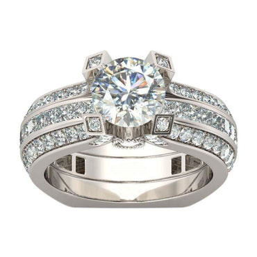 Cubic Zirconia Insert Wedding Ring