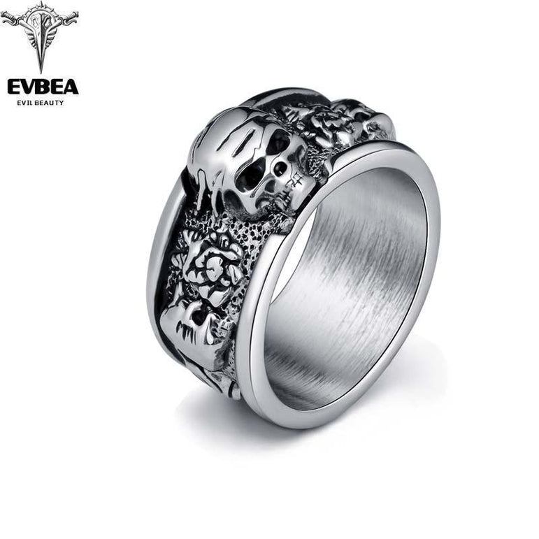 Rock Roll kpop Silver Gothic Punk Old Wrinkle Skull Big  Rotating Bikers Bible Rings Men's & Boys' Jewelry R267