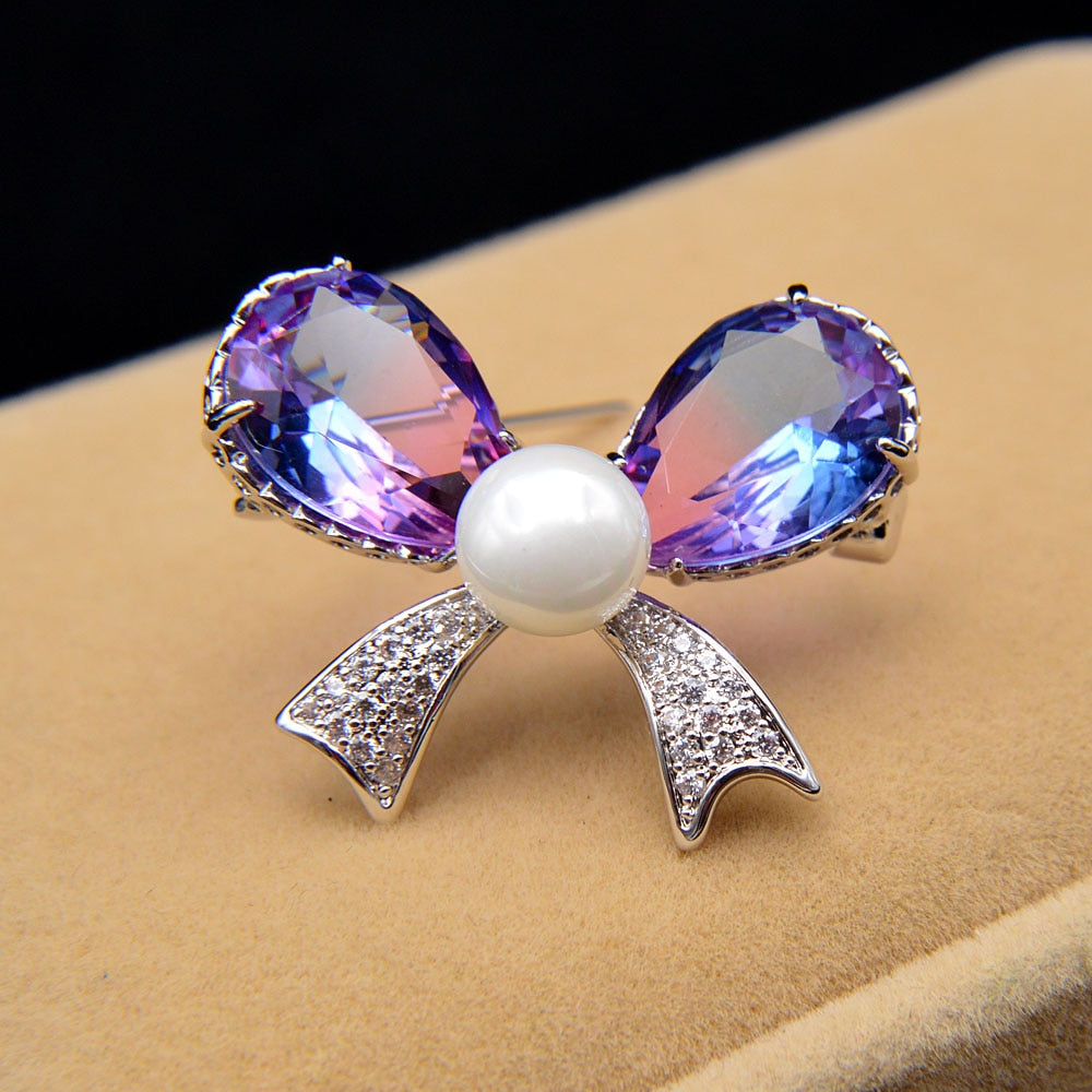 Cubic Zirconia Bow Pearl Accent Brooch