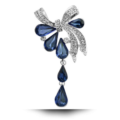 Water drop Rhinestone Bow Brooch