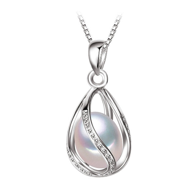Freshwater Pearl Cage Pendant Necklace