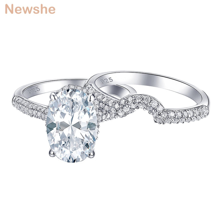 Newshe 2 Pieces Solid 925 Sterling Silver Engagement Ring Wedding Band Bridal Set Oval Shape White Zircon Grand Jewelry BR0875