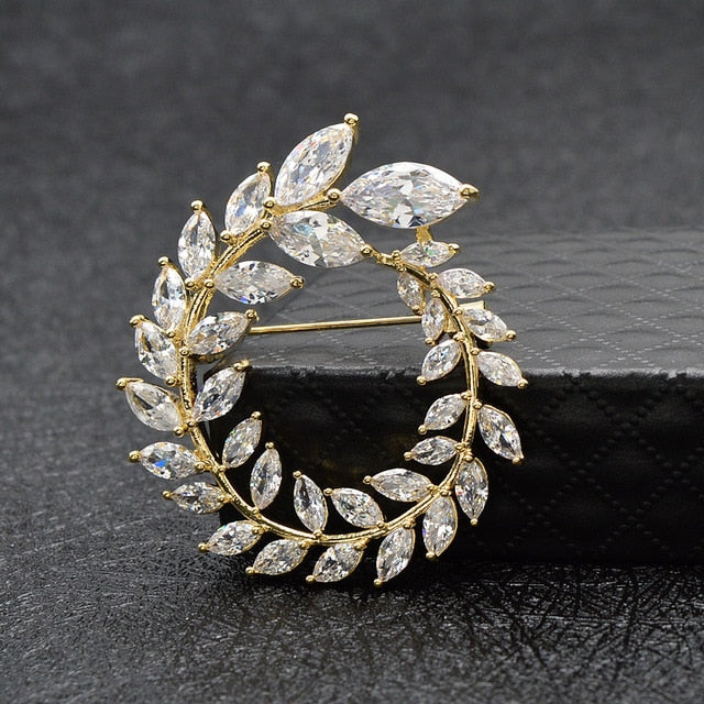 Cubic Zirconia Olive Brooch Pin