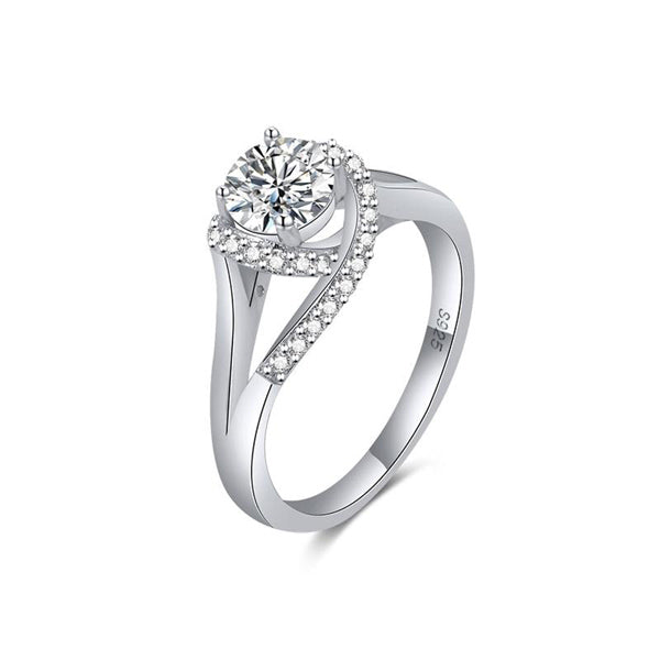 Solitaire Platinum Plated 925 Silver Engagement Ring