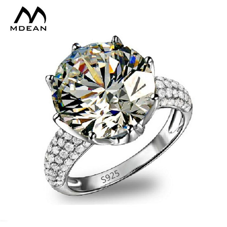 MDEAN Big AAA Zircon Jewelry White Gold Color Rings luxury engagement wedding  rings for women   accessories Size 6 7 8 9 MSR064