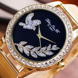 Quartz Leaf Bird Design Stainless Steel Watch