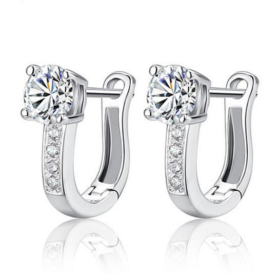 Sterling Silver Simulated Diamond Huggie Earrings