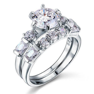 2ct Simulated Diamond Sterling 925 Silver Engagement Set