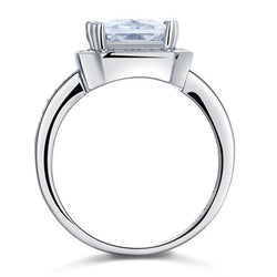 4ct Rectangle 925 Sterling Silver Engagement Ring