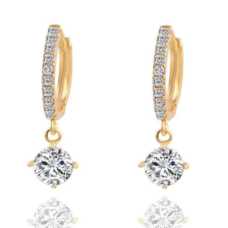 Round Crystal Stud Gold Tone Zircon Earrings