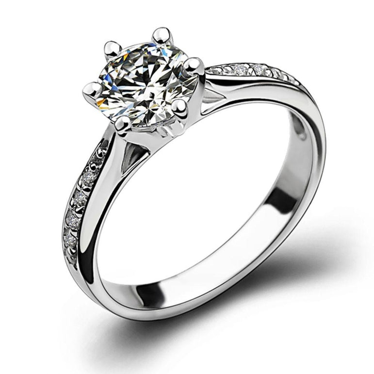925 Silver Zircon Six Prong Engagement Ring