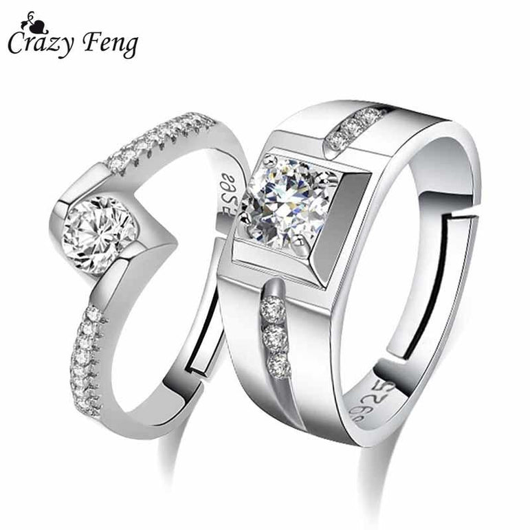 Crazy Feng 2PCS CZ Crystal Engagement Ring For Women Men Silver Color Adjustable Geometric Zirconia Couple Rings Wedding Jewelry