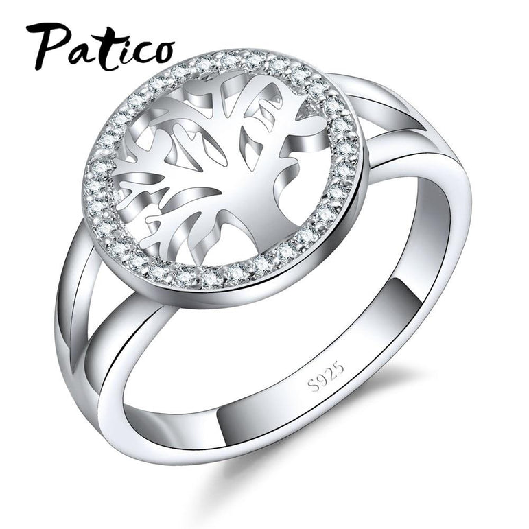 PATICO Hot Sale Finger Ring Bijoux 925 Sterling Silver Tree of Life AAA Zircon Wedding Jewelry For Women Party Gifts Wholesale