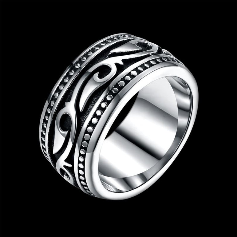 Titanium Stainless Steel Men's Ring Vintage Geomeric Male Ring for Men Wedding Jewelry Silver Color Vintage dately Men Ring