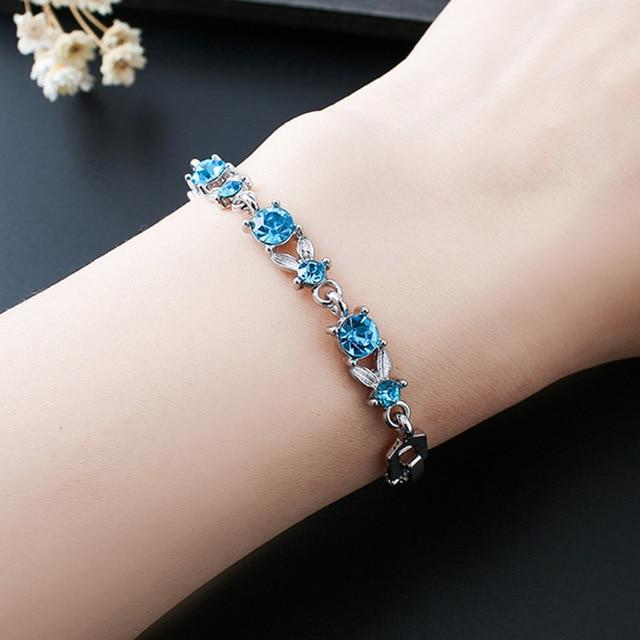 Blue Crystal Bracelet With Rhinestone
