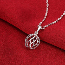 Intertwined Ball 18K White Gold Plated Necklace
