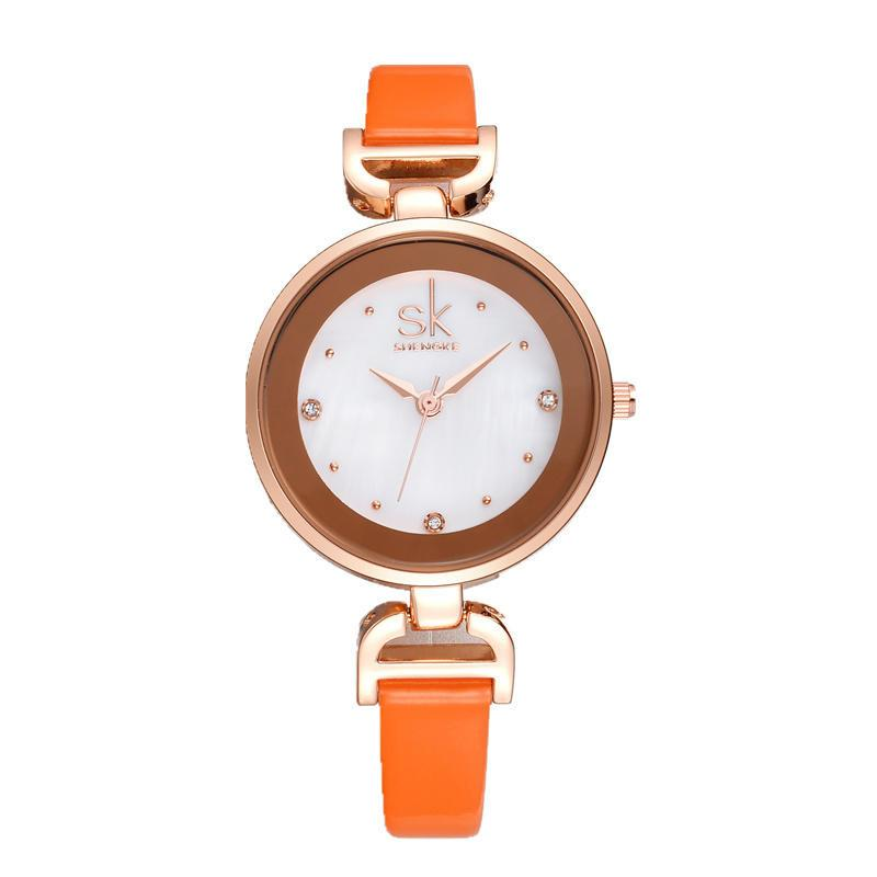 Rose Gold Diamond Small Leather Watch