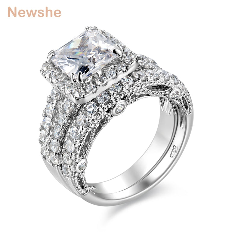 Newshe 2 Pcs Wedding Ring Set Classic Jewelry 2.8 Ct Princess Cut AAA CZ 925 Sterling Silver Engagement Rings For Women JR4887