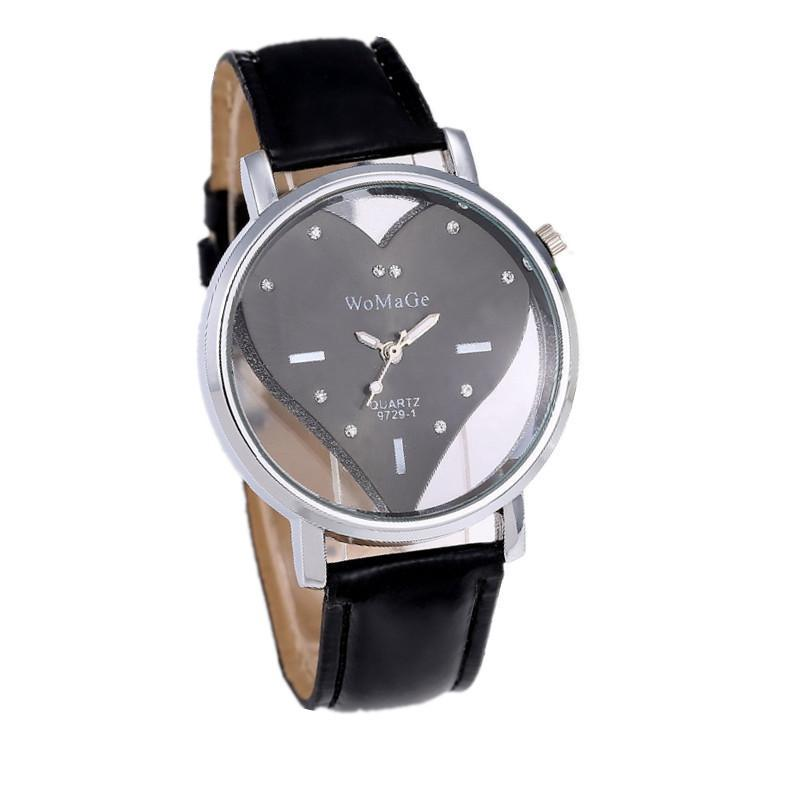 Heart Shape Inlaid Display Cute Leather Watch