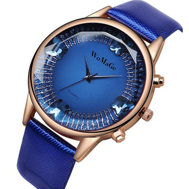 Colorful Leather Strap Rose Gold Watch