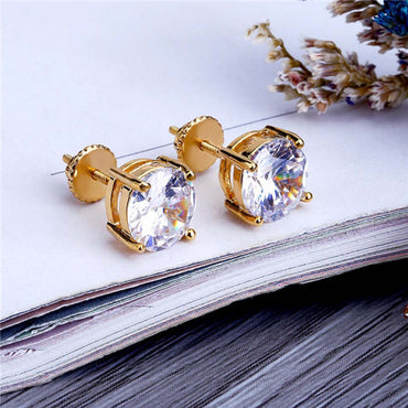 Round Simulated Diamond Stud Earrings