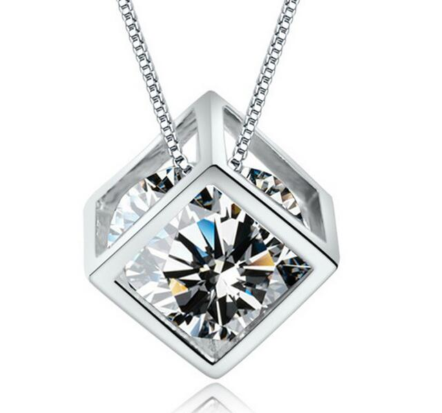 Square Love Cube Diamond Necklace