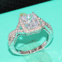 Jewelry Women Solitaire Princess cut WHIT Topaz Diamonique Simulated Diamond 925 sterling silver Wedding Bridal Band Ring gift Size 5-11