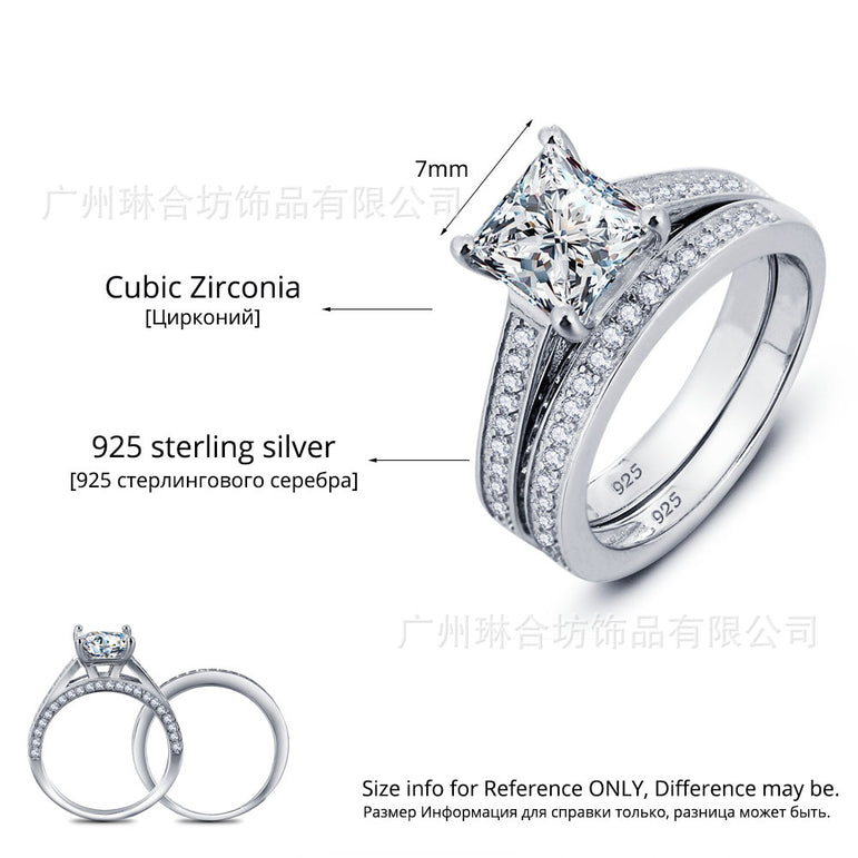 New! Real 925 Sterling Silver Ring Set for Women Princess Cut Wedding Ring Sets Jewelry N60