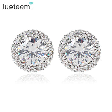 Perfect Cut Zircon White Gold-Color Stud