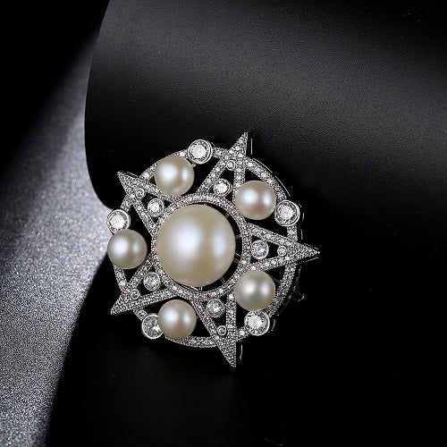 Natural Pearl Star Style Brooch
