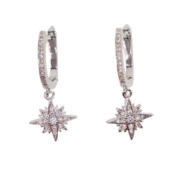 Star Drop Dangle Snowflake Earrings