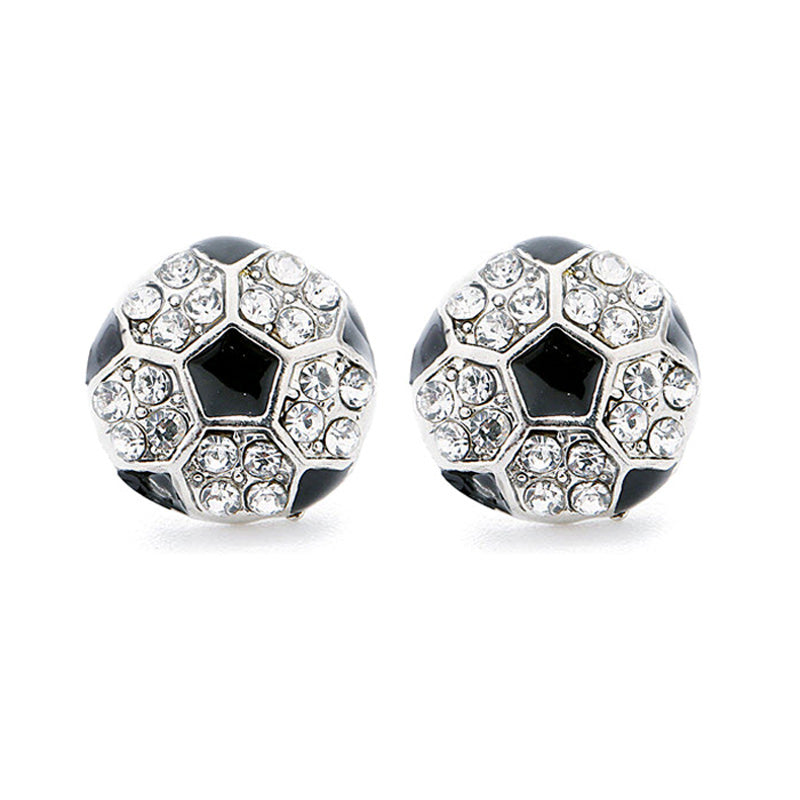 Rhinestone Soccer Stud Earrings