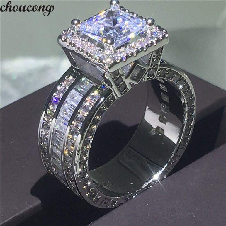 choucong Vintage Court Ring 925 sterling Silver Princess cut 5A cz stone Engagement Wedding band Rings For Women Jewelry Gift