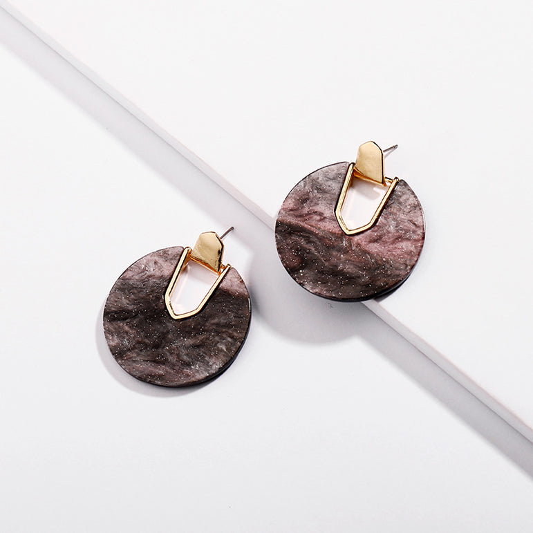 Round Disc Abalone Shell Dangle Earrings