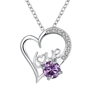 Heart Shape Gem Stone Pendant Necklace