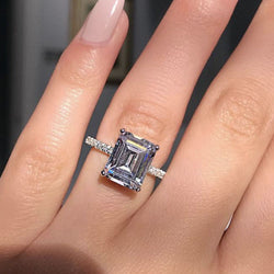 Statement ring 925 Sterling silver Princess cut Diamond Engagement wedding band rings for women men Party Jewelry Gift