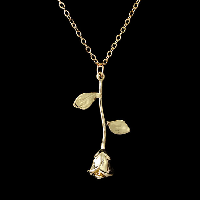 Retro Leaf Rose Pendant Necklace