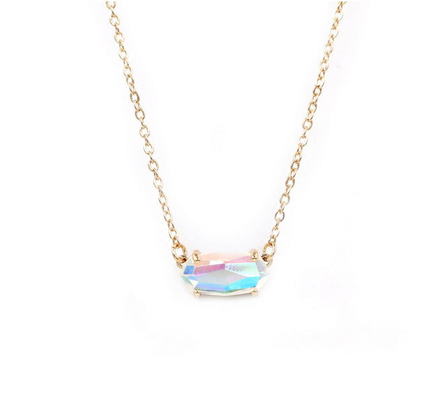 Small Oval Faceted Dichroic Crystal Stone Necklace