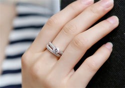 Fine Jewelry 100% Original 925 Silver Rings Set for Women Cubic Zircon Engagement Wedding Rings Set Gift R131