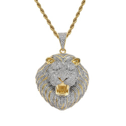 Lion Face Bling Pendant Necklace