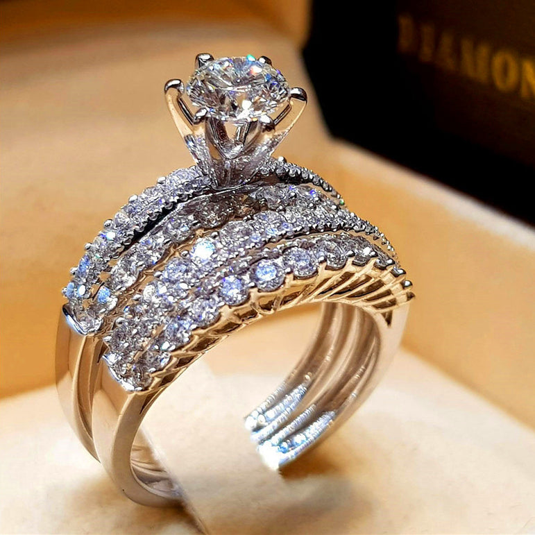 Cute Female Crystal White Diamond Ring Set Luxury 925 Silver Engagement Ring Vintage Bridal Wedding Rings For Women