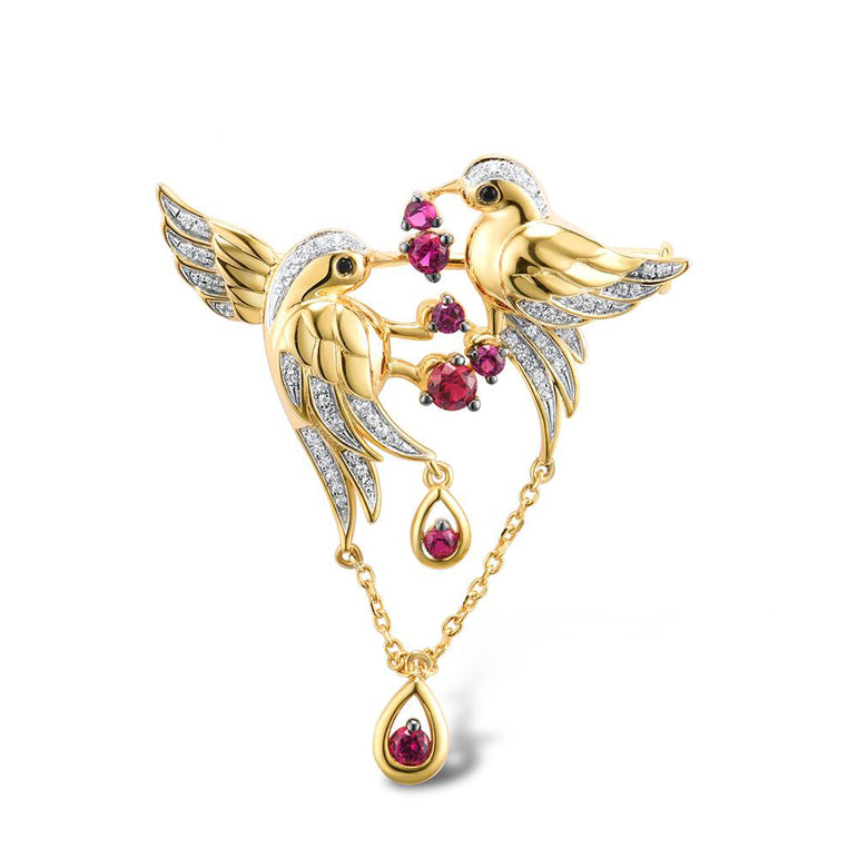 Yellow Gold Birds Brooch With Enamel