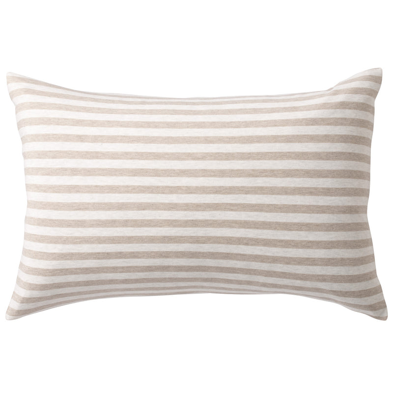Organic Cotton Jersey Pillow Case Beige Border /50X70