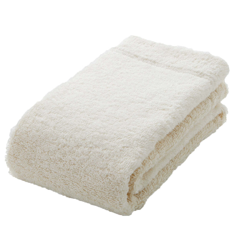 Organic Cotton Blend Medium Thick Face Towel Ecru