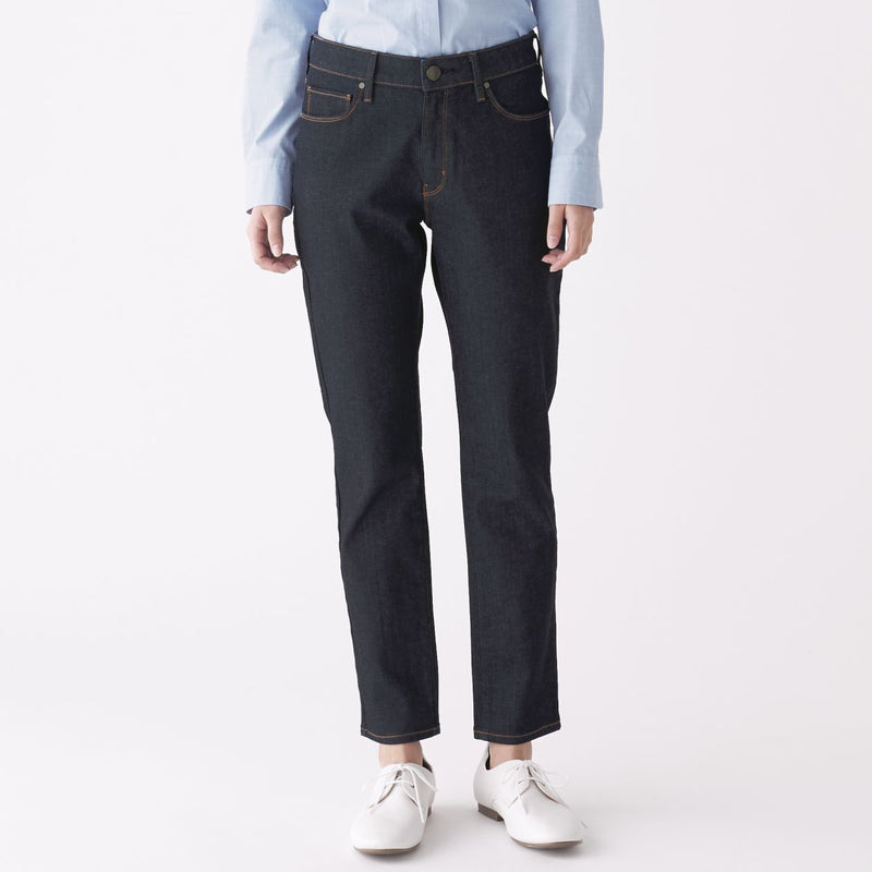 4 Way Stretch Denim Slim Straight Pants Ankle Length