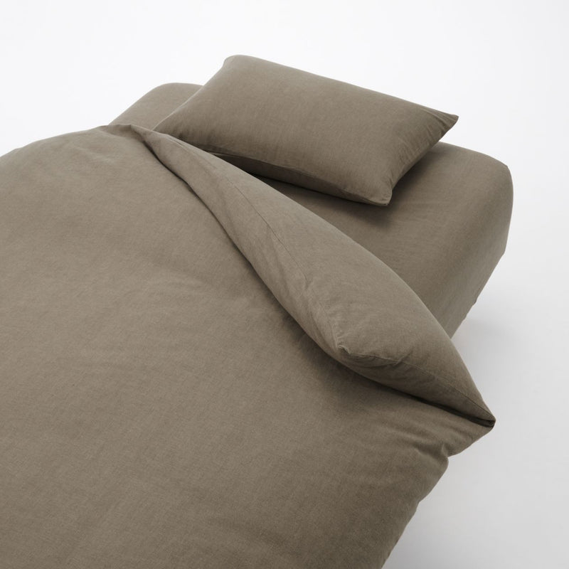 Cotton Plain Weave Cover Set For Bed K Brown