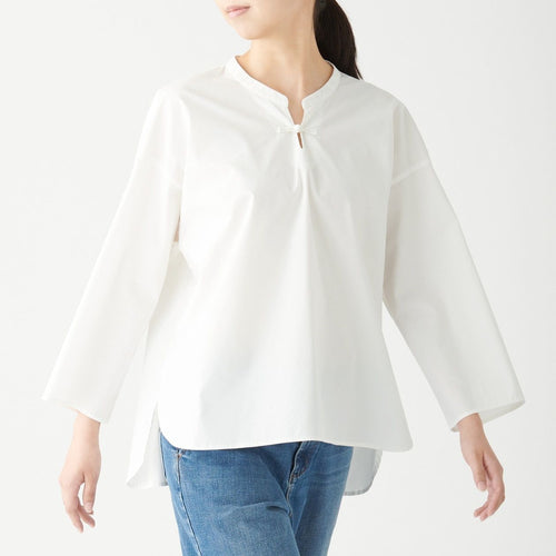 Knot Button Stand Collar Blouse