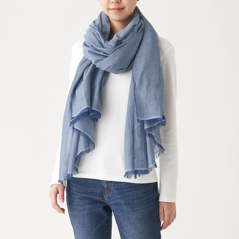 Indian Cotton Large Stole Chambray