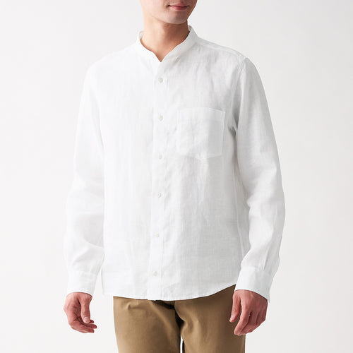 French Linen Washed Stand Collar Shirt